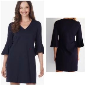 Jude Connally V-Neck Bell Sleeve Ponte Dress Black